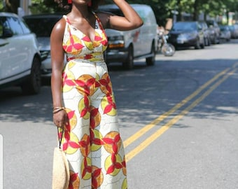 KENYA - Off White Red Orange Yellow African Ankara Wax Print Wide Leg Pants Infinity Jumpsuit - by Tribal Groove - new