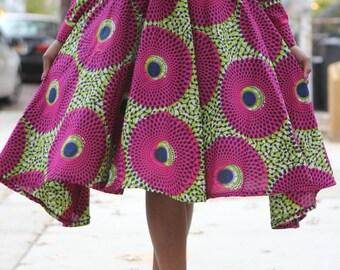 African Print Skirt-The Full Circle Mid-Length Skirt Midi - India