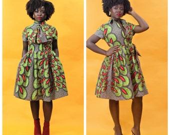 IYA -  Ankara African Print Secretary Neck Tie DRESS -Sale