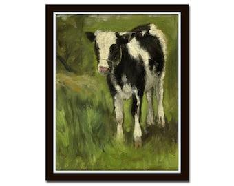 Baby Cow No. 1, Wall Art, Art Print, Antique Reproduction Painting, Farmhouse Art, Home Decor, Modern Farmhouse, Giclee Print, Kitchen Art,