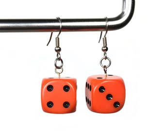 Dice Earrings in Orange and Black, d6 earrings