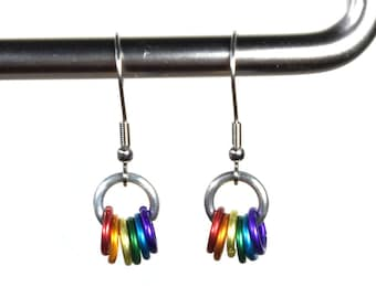 Rainbow Earrings Chainmail Earrings Rainbow Jewelry Colorful Earrings Dangle Earrings Gift For Her Statement Earrings Pride Earrings