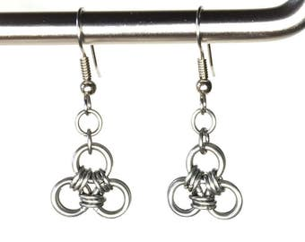 Celtic Style earrings, Zelda Triforce, Choose Stainless Steel or Copper