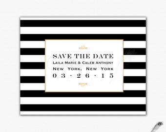 black white save the date card printed bright pink gold etsy