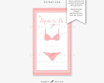 lingerie size bridal insert card printed printable white pink bridal shower invitation bra panty invite download bachelorette 081
