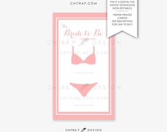 de37195cc92f Bridal Lingerie Size Insert Card Printed Printable Gold