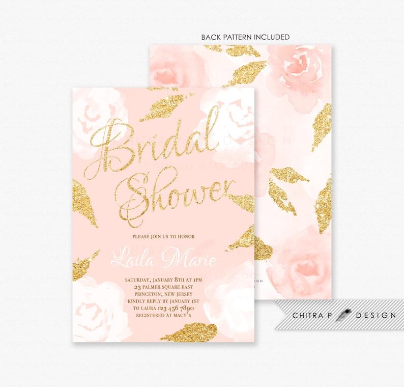 e9a964e83c82 Blush Pink   Gold Bridal Shower Invitations Printed