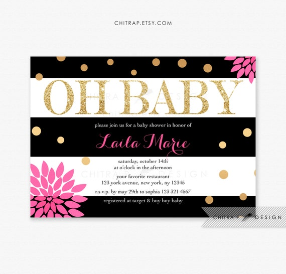 Black white baby shower invitations printed gold hot pink etsy image 0 filmwisefo