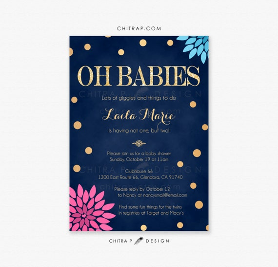 pink blue twin baby shower invitations printed navy boy etsy