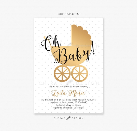 White Gold Baby Shower Invitations Printed Black Oh Baby Vintage