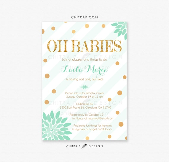 twins baby shower invitations printed mint gold green etsy