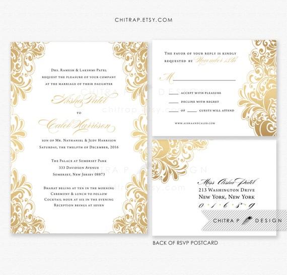 White Gold Wedding Invitations & RSVP postcards   Printed, Black
