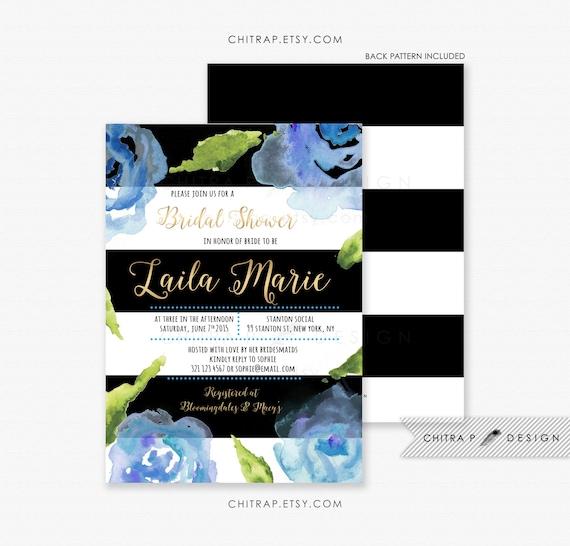 d8e5671609482 Black White Bridal Shower Invitation - Printed, Gold Blue Striped ...