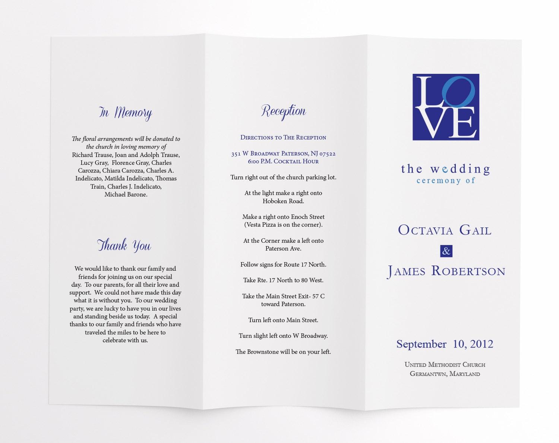 Wedding Ceremony Program / Order Of Service Philadelphia