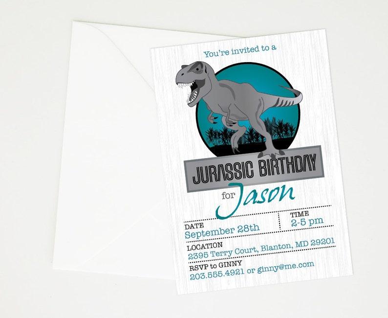 Jurassic World Park Dinosaur Birthday Party Invitation Etsy