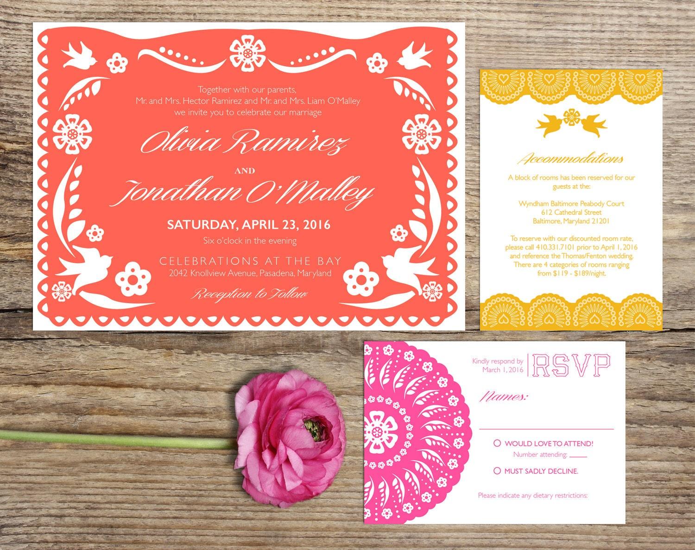 Papel Picado Fiesta Wedding Invitation Suite Custom Printable | Etsy