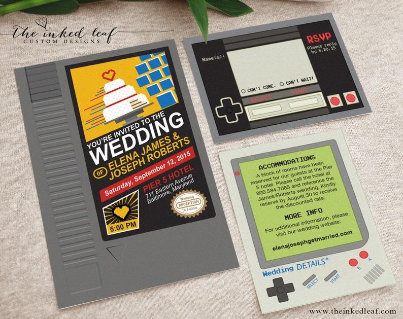 7daeba1700 Geek Wedding Invitations Nintendo NES Cartridge Mario