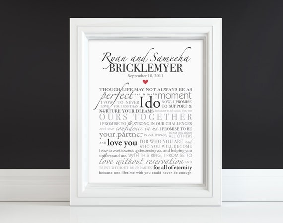 Wedding Vow Art Or Song Lyrics Keepsake Custom Print Gift Etsy