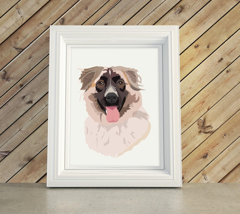 Hund Portrait Illustration Büste Karikatur Geschenk oder Pet | Etsy