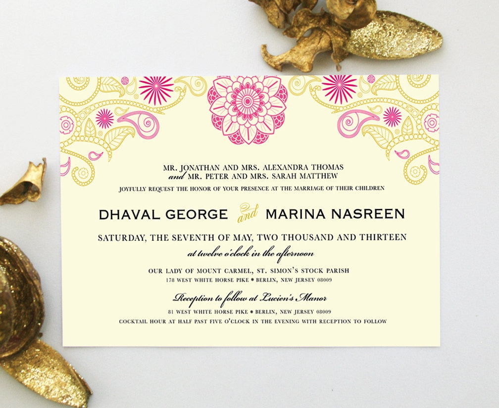 Hindu Wedding Invitation Card: Indian Wedding Invitation With Henna Mandala Mehndi