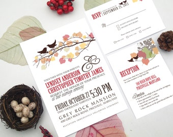Autumn Wedding Invitation Design w. Fall Leaves and Love Birds - Whimsical Vintage Printable Rustic Country Invite Set