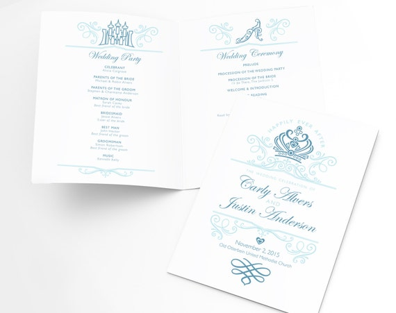 Ceremony Program Printable Template Disney Wedding Fairytale