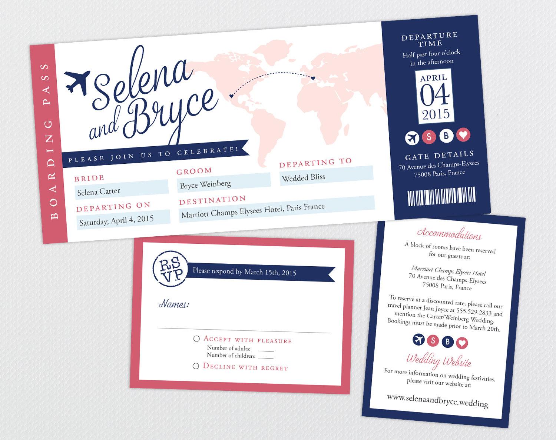 Destination Wedding Invitation Ticket Boarding Pass Wedding