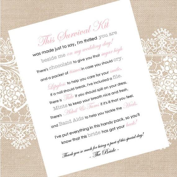 Custom Bridesmaid Survival Kit Printable Digital Download
