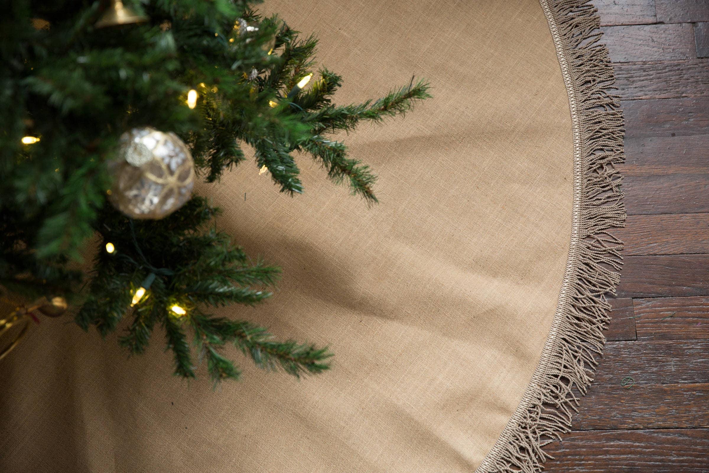 60 Optional Customization Large Burlap Tree Skirt Christmas Tree Skirt with White Pom Pom Trim Approx