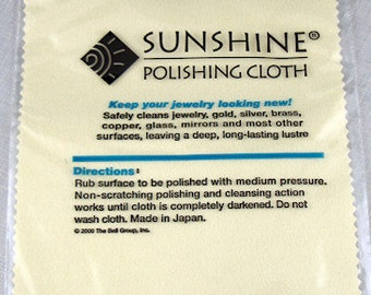 Sunshine Polishing Cloth to Clean Silver Copper or Gold Jewelry - 7 1/2 x 5 Inches