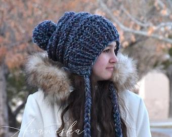 ALL SIZES Knit Winter Woolen Pom Pom Ear Flap Chullo Slouchy Bonnet Woman Girls Hat Beanie | The DUCHESS