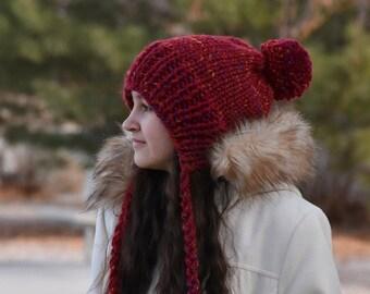 ALL SIZES Knit Ear Flap Pom Pom Woolen Winter Chunky Bonnet Chullo Women Girls Hat Beanie | The COUNTESS
