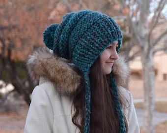 ALL SIZES Knit Ear Flap Pom Pom Woolen Chunky Extra Slouchy Chullo Bonnet Woman Girls Hat | The EMPRESS