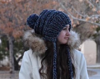ALL SIZES Knit Winter Woolen Pom Pom Ear Flap Chullo Slouchy Woman Girls Hat Beanie | The DUCHESS