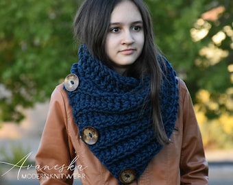Knit Winter Women Men Chunky Neck Warmer Cowl Scarf, Buttoned Scarf, Three Button Scarf  | THE BOSTON