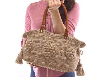 Gerard Darel Dublin 24 Hour Inspired Crochet Handbag with Genuine Leather Handles, Crochet Bag, Summer Bag, Boho Style Bag
