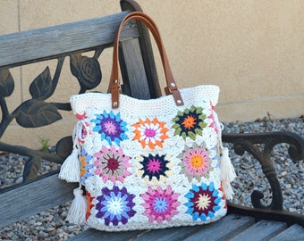 Crochet granny squares handbag with tassels and genuine leather handles, Crochet Bag, Tote Bag, Boho Style Bag, Summer Bag
