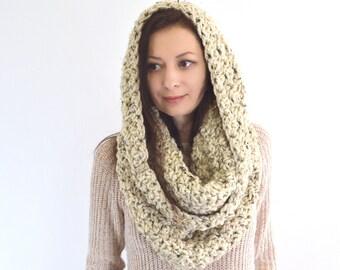 Knit Crochet Woman Chunky Cowl Hood Scarf | THE BARCELONA