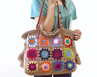 Crochet Granny Squares Tote Bag with Genuine Leather Handles, Crochet Summer Bag, Shopper Bag, Boho Style Bag
