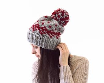 Knit Chunky Fair Isle Pom Pom Slouchy Hat Beanie Toque  e7acc6c45b9