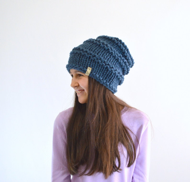 ALL SIZES Knitted Hat Chunky Hat Woolen Woman Girls Slouchy image 0