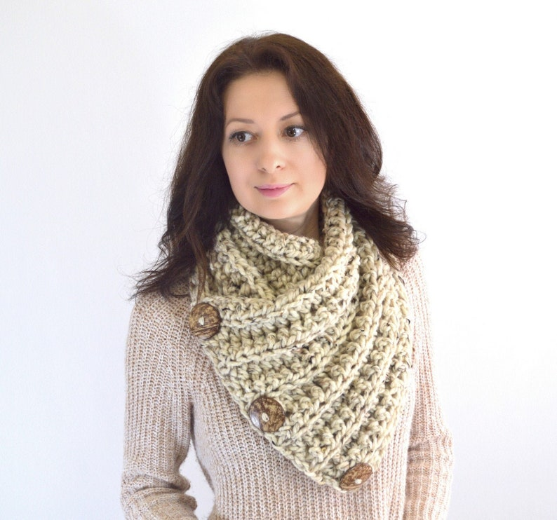 Chunky Neck Warmer Cowl Scarf with Three Natural Coconut Shell image 0