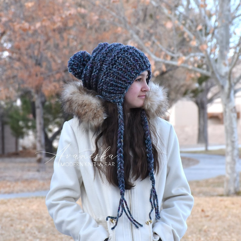 ALL SIZES Knit Winter Woolen Pom Pom Ear Flap Chullo Slouchy image 1