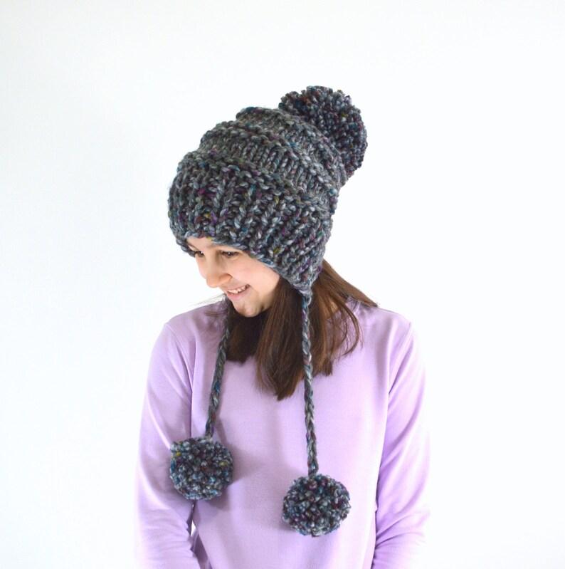 ALL SIZES Knit Hat Chunky Pom Pom Ear Flap Slouchy Woman & image 0
