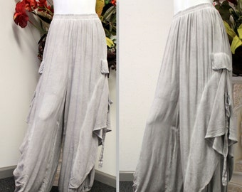 New Artistic Plus Size LagenLook Tiered Wide Legged Pants With Side Pockets. Fun,Comfort, Travel.