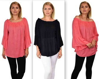 Dare2bstylish On-Off Shoulder Blouse, Peasant blouse, Ruffle Sleeve Blouse, Asymmetrical Blouse. M to 2XL