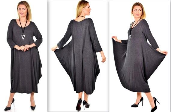 Plus Size Dress,New Designer Dress, Waterfall Dress, Balloon Dress,  Lagenlook Dress, Plus Size Dress Gray Dress