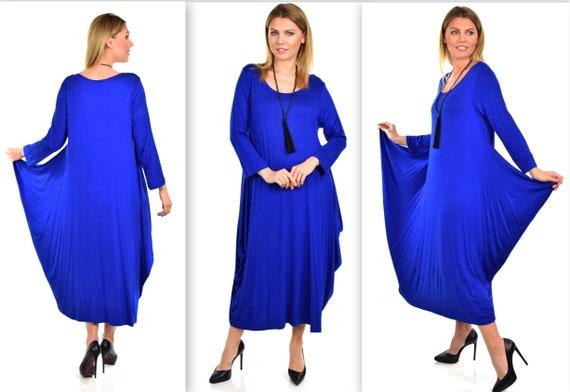Plus Size Dress,New Designer Dress, Waterfall Dress, Balloon Dress,  Lagenlook Dress, Plus Size Dress, Rroyal blue dress
