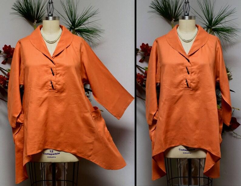 5d03ea4536d Linen Blouse Linen Tunic Plus Size Tunic Asymetrical Tunic