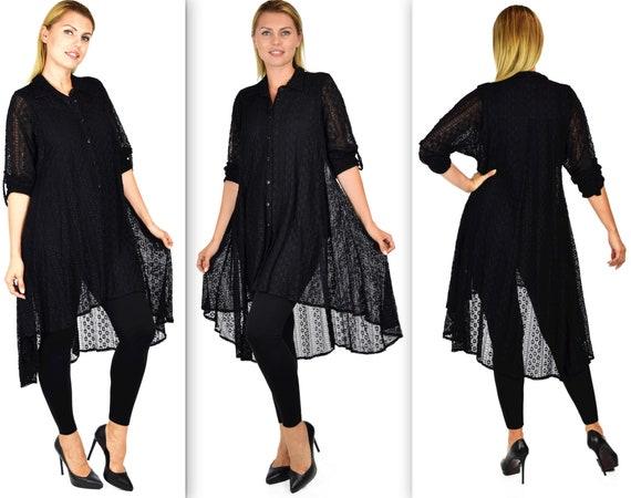 Stretch Shirt Shirt Oversized Lace M New Lagenlook Shirt XL L Shirt Exotic Swing Shirt Low Lace shirt LoveBug fabric Hi SCwq6